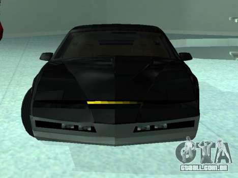 Pontiac Trans-Am K.A.R.R. para GTA San Andreas traseira esquerda vista