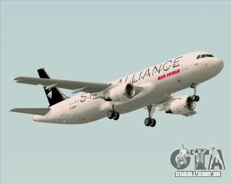 Airbus A320-200 Air India (Star Alliance Livery) para GTA San Andreas vista traseira