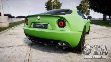 Alfa Romeo 8C Competizione 2008 para GTA 4 traseira esquerda vista