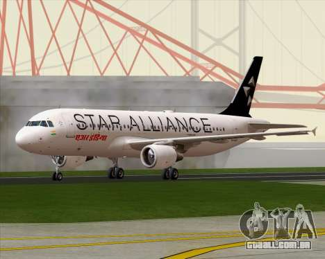 Airbus A320-200 Air India (Star Alliance Livery) para GTA San Andreas vista direita