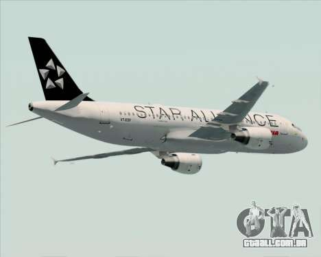 Airbus A320-200 Air India (Star Alliance Livery) para GTA San Andreas vista interior