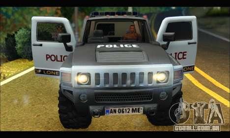 Hummer H3 Police para GTA San Andreas vista traseira