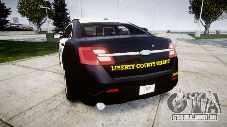Ford Taurus 2014 Sheriff [ELS] para GTA 4 traseira esquerda vista