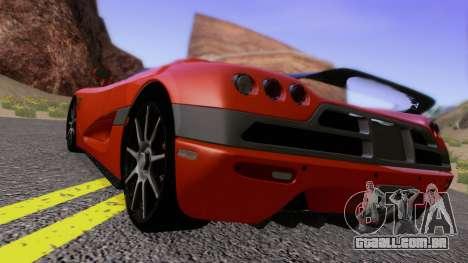 Koenigsegg CCX 2006 Road Version para GTA San Andreas traseira esquerda vista