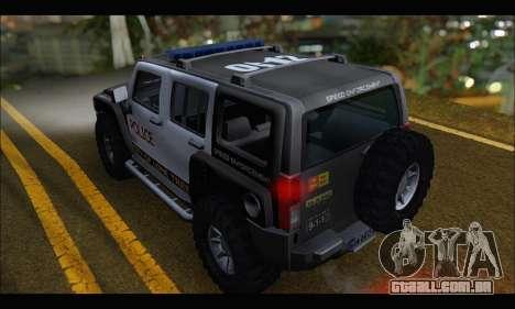 Hummer H3 Police para GTA San Andreas traseira esquerda vista