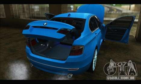 BMW 5 series F10 2014 para GTA San Andreas traseira esquerda vista
