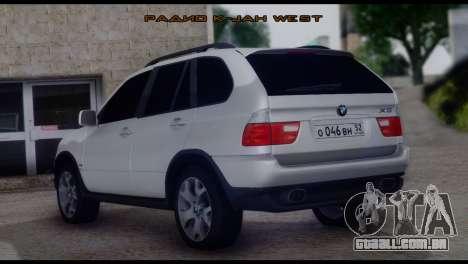 BMW X5 E53 para GTA San Andreas esquerda vista
