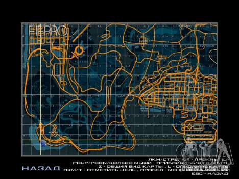 Mapa com setores no estilo de corrida para GTA San Andreas por diante tela