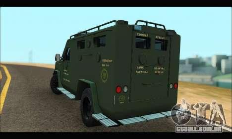 Lenco Bearcat SANG MedEvac 2009 para GTA San Andreas traseira esquerda vista