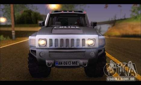 Hummer H3 Police para GTA San Andreas vista direita