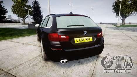 BMW 525d F11 2014 Facelift Civilian para GTA 4 traseira esquerda vista