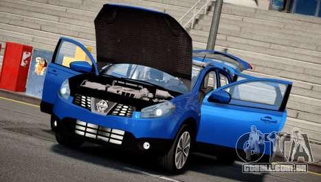 Nissan Qashqai 2011 para GTA 4 traseira esquerda vista