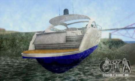 Speed Yacht para GTA San Andreas traseira esquerda vista