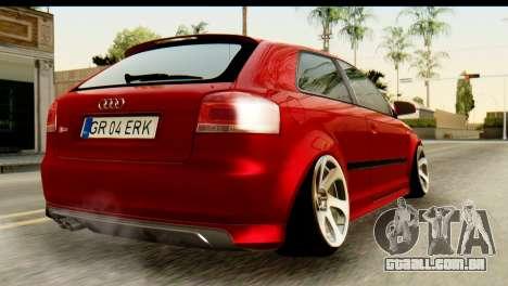 Audi S3 2007 Camber Edit para GTA San Andreas esquerda vista