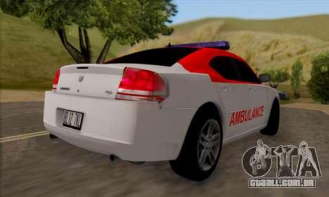 Dodgle Charger Ambulance para GTA San Andreas vista direita