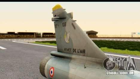 Dassault Mirage 2000-5 para GTA San Andreas vista direita