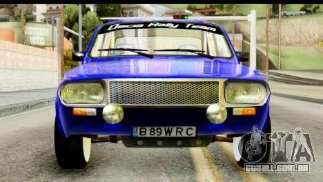 Dacia 1300 B 89 WRC para GTA San Andreas vista traseira