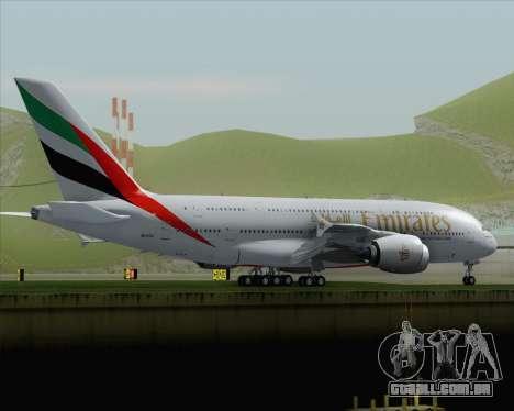 Airbus A380-800 Emirates (A6-EDJ) para GTA San Andreas traseira esquerda vista
