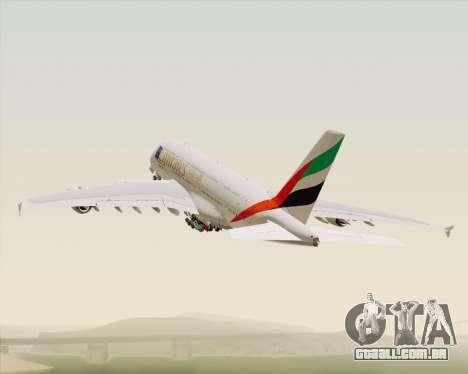 Airbus A380-800 Emirates (A6-EDJ) para GTA San Andreas vista inferior