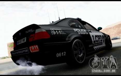 BMW M3 E46 Police para GTA San Andreas esquerda vista