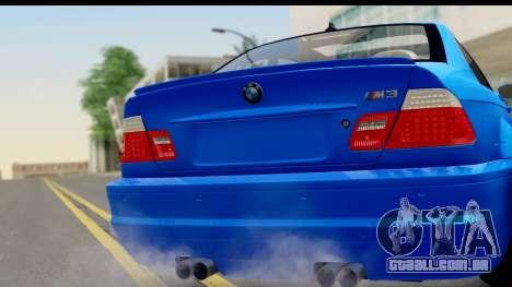 BMW M3 Stance para GTA San Andreas traseira esquerda vista