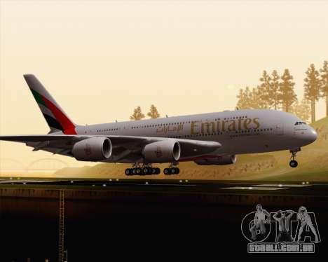 Airbus A380-800 Emirates (A6-EDJ) para GTA San Andreas esquerda vista