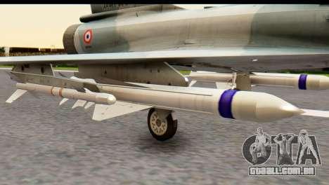 Dassault Mirage 2000-5 para GTA San Andreas traseira esquerda vista