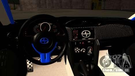 Scion FR-S para GTA San Andreas vista interior