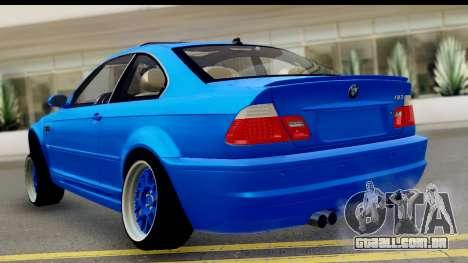 BMW M3 Stance para GTA San Andreas esquerda vista