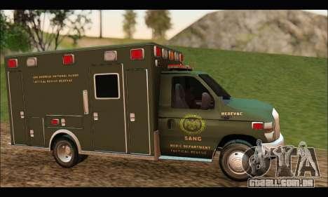 Ford E450 Ambulance SANG Tactical Rescue para GTA San Andreas esquerda vista