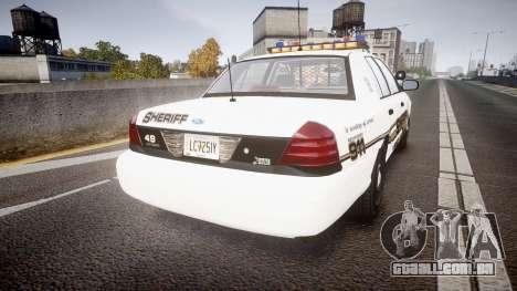Ford Crown Victoria LCSO [ELS] Vision para GTA 4 traseira esquerda vista