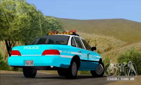 Ford Crown Victoria NYPD Blue para GTA San Andreas vista traseira
