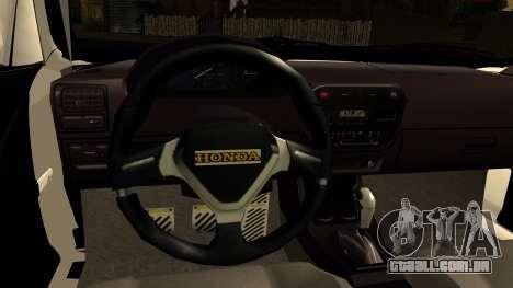 Honda Civic Park Garage para GTA San Andreas traseira esquerda vista