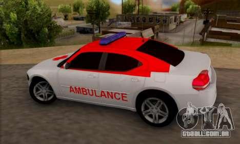 Dodgle Charger Ambulance para GTA San Andreas esquerda vista
