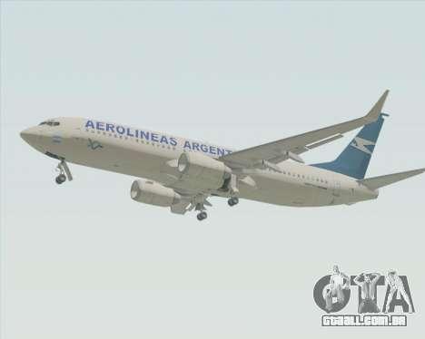 Boeing 737-800 Aerolineas Argentinas para GTA San Andreas traseira esquerda vista