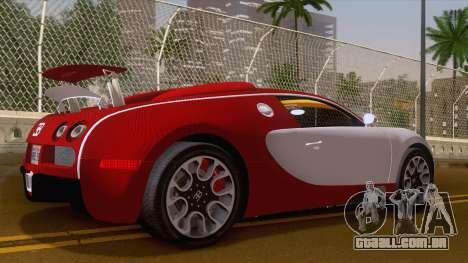 Bugatti Veyron Grand Sport Sang Bleu 2008 para GTA San Andreas traseira esquerda vista