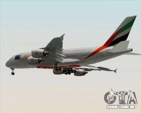 Airbus A380-800 Emirates (A6-EDJ) para GTA San Andreas vista traseira