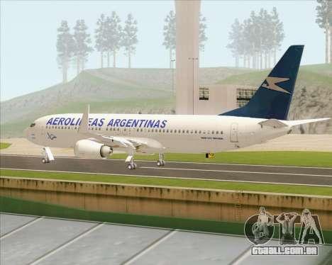 Boeing 737-800 Aerolineas Argentinas para GTA San Andreas vista direita