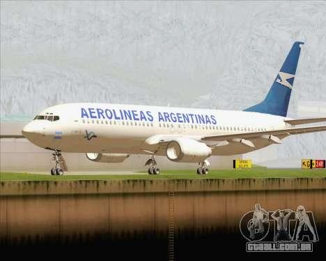 Boeing 737-800 Aerolineas Argentinas para GTA San Andreas esquerda vista