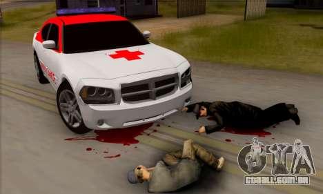 Dodgle Charger Ambulance para GTA San Andreas traseira esquerda vista