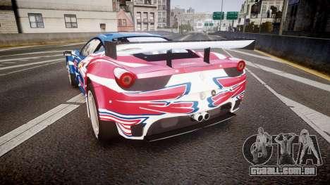 Ferrari 458 GT2 Stevenson Racing para GTA 4 traseira esquerda vista