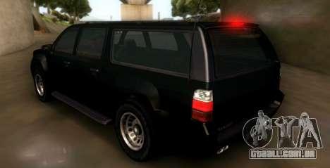 GTA 5 FIB Granger para GTA San Andreas traseira esquerda vista