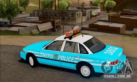 Ford Crown Victoria NYPD Blue para GTA San Andreas esquerda vista