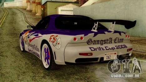 Mazda RX-7 Gangsta Club para GTA San Andreas esquerda vista