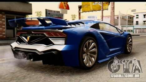 GTA 5 Pegassi Zentorno v2 para GTA San Andreas esquerda vista