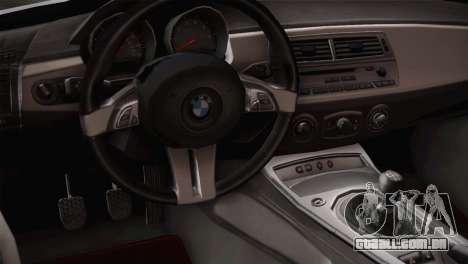 BMW Z4 V10 IVF para GTA San Andreas vista traseira