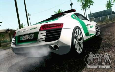 Audi R8 V8 FSI 2014 Dubai Police para GTA San Andreas esquerda vista