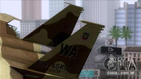 F-15C Camouflage Pack para GTA San Andreas traseira esquerda vista