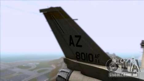 F-16F Fighting Falcon United Arab Emirates para GTA San Andreas traseira esquerda vista