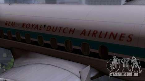 L-188 Electra KLM v1 para GTA San Andreas vista traseira